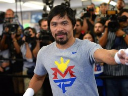 Apr 15, 2015; Hollywood, CA, USA; Manny Pacquiao in the ring during a media day workout at Wild Card Boxing Club. Mandatory Credit: Jayne Kamin-Oncea-USA TODAY Sports ORG XMIT: USATSI-224112 ORIG FILE ID:  20150415_gav_al6_027.jpg