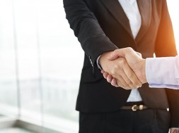 Closeup of business handshake.